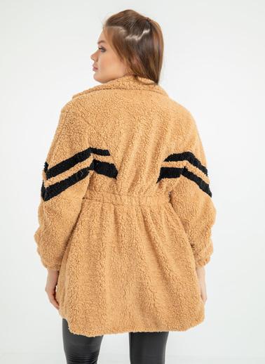 Foremia Peluş Şerit Detay Uzun Ceket Taş
